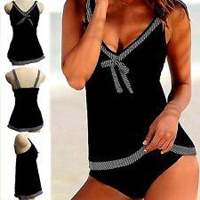 Women Plus Size Swimwear two Piece tankini Vest Top Sets Swimsuit UK Size 6-22