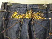 ROCAWEAR Dark Wash Jeans Gold Embroidered Logo Across Back Size 36X33