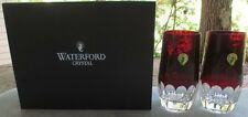 TWO Waterford Crystal Mixology Talon Red Highball Tumblers Mint and New in Box