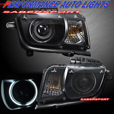 2010-2012 CHEVY CAMARO CCFL ANGEL EYE HALO HALOGEN PROJECTOR HEADLIGHTS BLACK