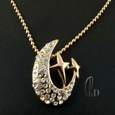 Made with Sparkling Swarovski Crystal Pendant Gold Plated Chain Necklace 070179