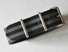 Quality 20mm Bond 007 Black & Gray Strap for Omega Seamaster 300mm Long Band