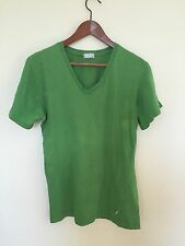 V- Neck Tee Shirt Designer Roy Clover Leaf Green Basic Pure Soft Cotton Size M/L