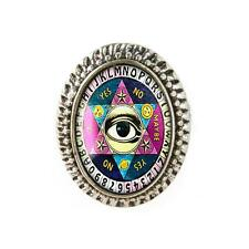 Seeing Eye Gypsy Ouija Board Vintage Gothic Silver Glass Halloween Horror Ring