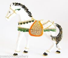 White Horse Striking Jewelled & Enamlled Large Horse Trinket Box or Figurine