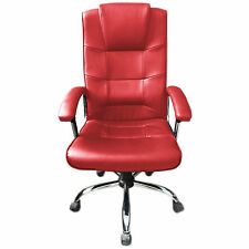 Red Office Chair Business Faux Leather swivel executive computer P37