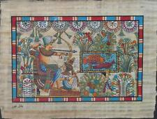 NEW HAND PAINTED EGYPTIAN ART ON PAPYRUS: Fish Hunting A92