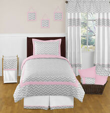 SWEET JOJO DESIGNS ZIGZAG PINK AND GREY WHITE GIRL TEEN CHEVRON TWIN BEDDING SET