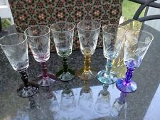 Vintage Retro stem hand engraved harlequin glasses (six) in original box