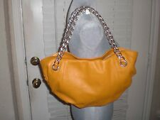 YES Virgini ORANGE WITH GOLD CHAIN LEATHER HOBO