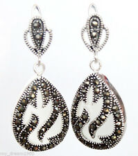"""Solid 925 Sterling Silver White Opal Beads Inlay Marcasite Ornament Earring 1.5"""""""