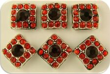 Beads Crystal Squares Red Siam Swarovski Crystal Elements ~2 Hole Sliders QTY 6