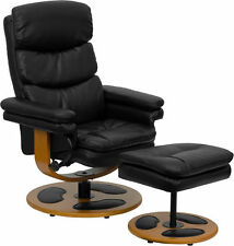 Flash Furniture Black Leather Swivel Recliner and Ottoman with Wood Base