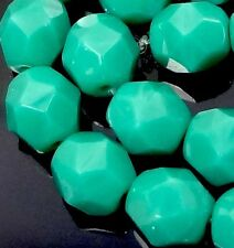 25 Firepolish Czech glass Faceted Round Beads - Persian Turquoise 6mm