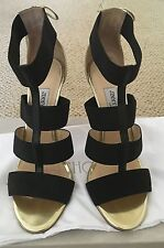 Jimmy Choo DARIO Gold Leather & Black Elastic Ankle Sandal Shoes 39 $995