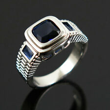 Size 9 Blue Sapphire Crystal Ring Women's 10KT White Gold Filled Wedding Band