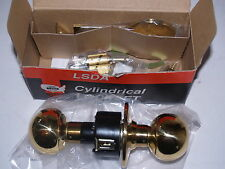 LSDA 140B Brass Storeroom Door Ball Handle Cylindrical Lockset-New w/keys