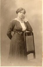 Vintage Postcard WOMAN STANDING WITH ARM ON CHAIR Unposted 1918  (PPL)