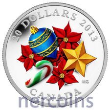Canada 2013 Murano Venetian Glass Christmas Ornaments $20 Silver Proof Coin