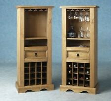 Wine Rack Solid Pine Shelving Glass Storage Unit Cabinet 1 Drawer Wooden Corona