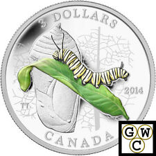 2014 Caterpillar & Chrysalis-Architect Prf $3 Colored Silver Coin .9999 (13941)