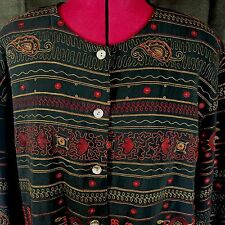 Chico's button up long sleeve shirt top jacket embroidered  XL size 3