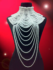 White Pearl Drag Queen Showgirl Cabaret COSTUME JEWLERY Choker Necklace