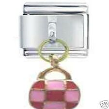 PINK & RED BAG - DAISY CHARM JSC Dangle Italian Charm for Classic Size Bracelet