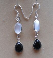Hallmarked Sterling Silver Sri Lankan Moonstone Onyx Drop Earrings (E19/2) (NEW)