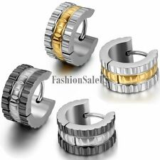 2pcs Men's Wide Stainless Steel Huggie Hoop Earrings Black Gold Tone For Choice