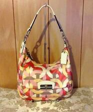 EUC COACH KRISTIN CHAIN LINK SATEEN/PATENT LEATHER HOBO SHOULDER BAG F22745