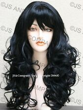 Long Bouncy Wavy Curly Center Skin top w Bangs Jet Black WIG JSCA 1