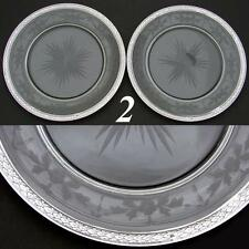 "Antique French Sterling Silver & Intaglio Glass 8.5"" Plate PAIR, Wine Coasters"
