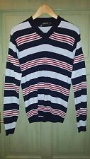 New Mens Junk de Luxe Knitted Wool V Neck Ribbed Jumper Striped Stripe Stripy M