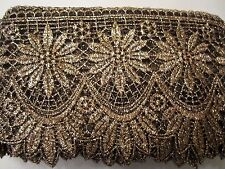 "5""  ***VINTAGE INSPIRED LACE*** Trim (2 yd)  METALLIC GOLD - BLACK"