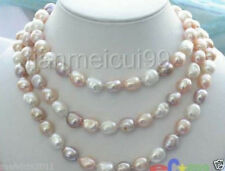 """NEW long 48 """"8-9mm baroque multicolor freshwater Cultured pearl necklace"""