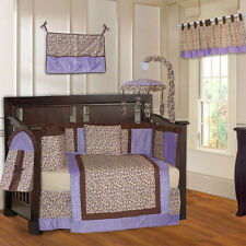 10 Piece Purple Leopard & Minky Girls Baby Crib Bedding (include musical MOBILE)