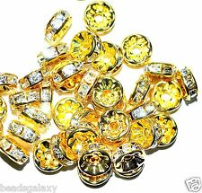 100 pcs AAA gold glass crystal rondelle spacer beads, 8 mm, option for colors*