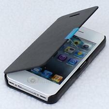 Black Magnetic Leather Flip Bag Hard Full Case Cover Protect For iPhone 4G 4S
