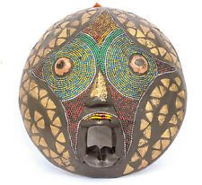 Authentic Hand Carved Wooden Beaded Metal Imprinted African Motif Mask, Hanging