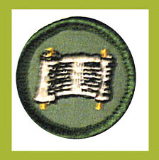 WRITER Junior Girl Scout NEW Badge 1960-70s, Patch Scroll Multi=1 Ship Chrg