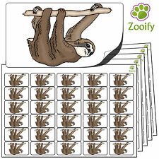 480 Sloth Stickers (38 x 21mm) Quality Self Adhesive Animal Labels By Zooify.