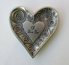 t I love You Heart Ring Dish Jewelry holder organizer metal Ganz