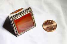 MASSIVE STERLING SILVER & CARNELIAN COLOR STONE RING  **SIZE 7.5