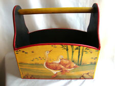 SOLID WOOD H/P TOLE MAGAZINE RACK-FOLK ART COUNTRY ART.SIGN