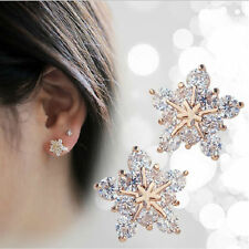 Crystal Elegant Gold Plated Stud Earrings Snowflake Women Ear Jewelry Party Gift