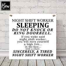 E150 LARGE DO NOT DISTURB NIGHT SHIFT WORKER SLEEPING NURSE KEEP QUIET DOOR SIGN