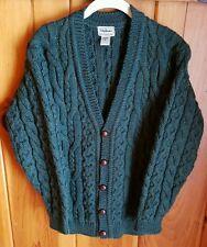 LL BEAN IRELAND Men's Small 100% Wool Green Knit Fisherman Cardigan Sweater