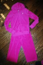 JUICY COUTURE GIRL'S HOODIE CROPPED PANT TERRY 14 PINK