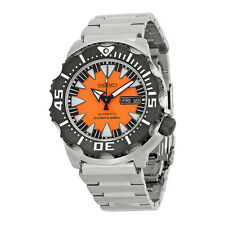 Seiko Black and Orange Dial Stainless Steel Mens Watch SRP315K2